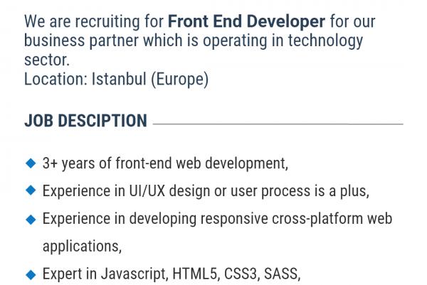 Front-End Developer İş İlanına Başvur!