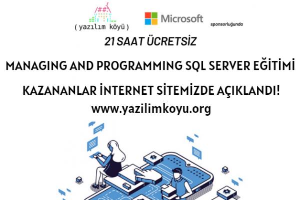 Managing and Programming SQL Server Eğitimine Katılmaya Hak Kazananlar Açıklandı!