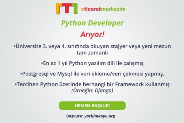 E-ticaretmerkezim Python Developer Arıyor!